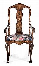 AN ENGLISH WALNUT MARQUETRY ARMCHAIR, 18TH CENTURY the shaped top rail cent