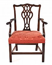 A GEORGE III STYLE MAHOGANY SIDE CHAIR the shaped