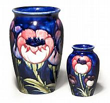 TWO MOORCROFT 'POPPY' PATTERN VASES one with paint