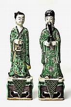 TWO CHINESE FAMILLE VERTE FIGURES OF CAO GUO JIU A