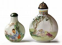 TWO CHINESE ENAMELLED OPAQUE WHITE GLASS SNUFF BOT