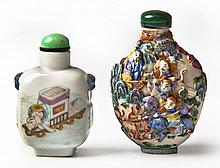 TWO CHINESE FAMILLE ROSE PORCELAIN SNUFF BOTTLES A