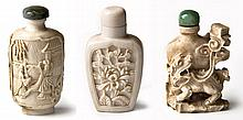 THREE CHINESE CARVED IVORY SNUFF BOTTLES AND STOPP