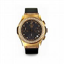 AN 18CT GOLD AND DIAMOND CHRONOGRAPH WRISTWATCH, H