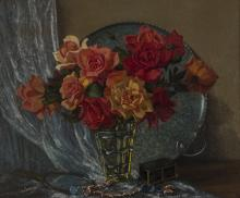 Willem Hermanus Coetzer (South African 1900-1983) VASE WITH ROSES signed oi
