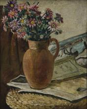 Reginald Turvey (South African 1882-1968) FLOWERS IN A VASE signed oil on b