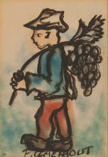 Frans Martin Claerhout (South African 1919-2006) MAN CARRYING GRAPES signed
