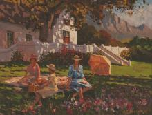 Roelof Stephen Rossouw (South African 1957-) THE PICNIC signed oil on canva