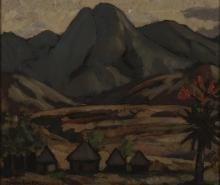 Johan Engela (South African 1915-) HUTS IN KOMATI VALLEY, SWAZILAND signed