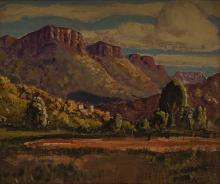 Johan Engela (South African 1915-) LANDSCAPE signed oil on canvas laid down