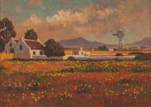 Roelof Stephen Rossouw (South African 1957-) LANDSCAPE WITH FARMHOUSE signe