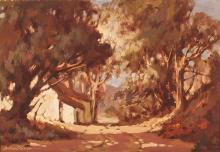 Johan (Johannes) Oldert (South African 1912-1984) HOUSE AMONG TREES signed