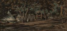 Erich (Ernst Karl)  Mayer (South African 1876-1960) CAMP BENEATH THE TREES