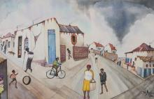 Peter Mogano (South African 20th Century-) TOWNSHIP SCENE signed and dated