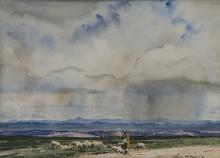 Terence John McCaw (South African 1913-1978) FARM LANDSCAPE signed watercol