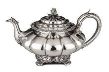 A GEORGE  IV SILVER TEAPOT, ROSSITER & SONS, LONDON, 1829 the melon-shaped
