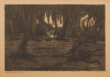 Jacob Hendrik Pierneef (South African 1886-1957) WILGERBOME etching, signed