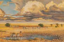 Zakkie (Zacharias) Eloff (South African 1925-2004) ETOSHA LANDSCAPE signed