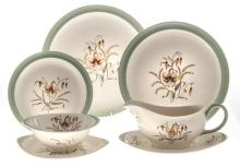 A WEDGWOOD 'TIGERLILLY' PATTERN PART DINNER SERVICE, 1957 each with an aqua
