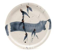 TIM MORRIS (1941-1990): A PORCELAIN PLATE with abstract floral pattern in c