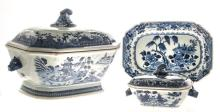 A GROUP OF THREE CHINESE BLUE AND WHITE WARES, QIANLONG, 1736-1795 comprisi
