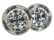 A PAIR OF CHINESE BLUE AND WHITE PLATES, QINALONG, 1736-1795 the centre of