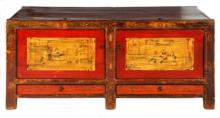 A CHINESE RED-LACQUER ELM AND PAINTED LOW CHEST the rectangular top with tw