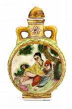Old Chinese Qing Dynasty Ceramic Snuff Bottle