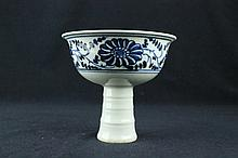 Chinese Ming Porcelain Blue & White Handle Cup