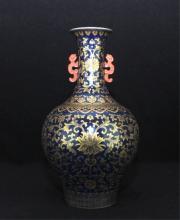 Chinese Qing Porcelain Gilt Flower Vase