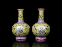Pair of Chinese Qing Porcelain Famille Rose Vase