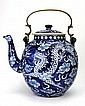 Large Chinese Blue & White Tea Pot