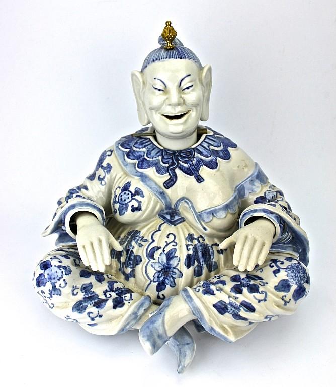 Blue & White Porcelain Sitting Goddess Figure