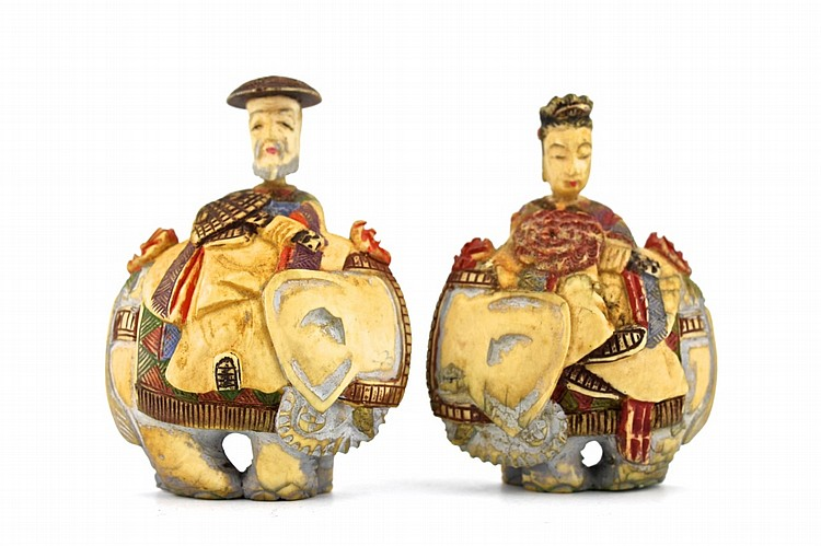 Pair of Chinese Ivory Male and Female Figures