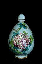 Chinese Qing Porcelain Famille Rose Snuff Bottle3 1/2 H x 2