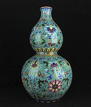 Large Chinese Qing Porcelain Famille Rose Vase14 1/8 x 7 1/4