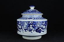 Chinese Qing Porcelain Blue&White; Vase With Lid7 1/2 x 7