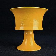 Chinese Ming Porcelain Yellow Glaze Cup4 x 4 1/4