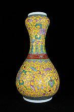 Chinese Qing Porcelain Emperial Famille Rose Vase12 1/2 H x 6 1/4
