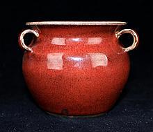 Chinese Qing Porcelain Red Glaze Jar4 5/8 x 3 5/8
