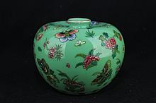 Chinese Qing Porcelain Famille Rose Apple Zun Butterfly Vase4 x 5 1/2