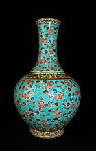 Large Chinese Qing Porcelain Famille Rose Vase with Bat and Cloud on body.9 1/2 H x 5 1/2W