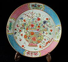 Chinese Qing Porcelain Famille Rose Plate7 7/8 x 1 3/4