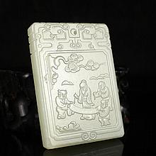 Old Chinese Natural He Tian Jade Plaque