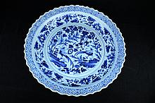 Large Chinese Ming Porcelain Blue&White; Plate