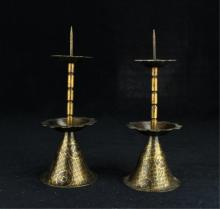 Pair of Chinese Bronze Candle Holder