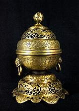 Old Chinese Bronze Incense Burner with Lid