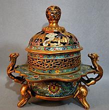 Chinese Imperial Cloisonne Enamel Incense Burner