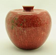 Chinese Qing Porcelain Flame Red Glaze Vase