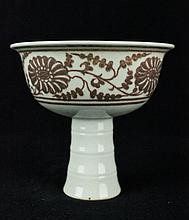 Chinese Qing Porcelain Under Red Glaze Handle Cup